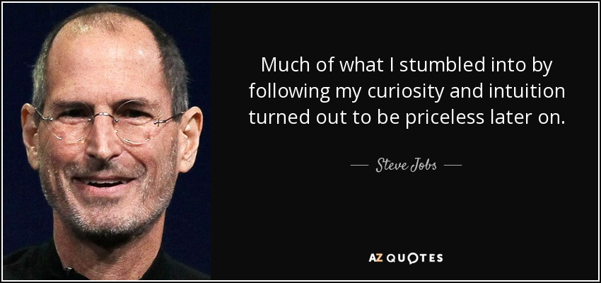 much-of-what-i-stumbled-into-by-following-my-curiosity-and-intuition-turned-out-to-be-priceless-later-on-steve-jobs